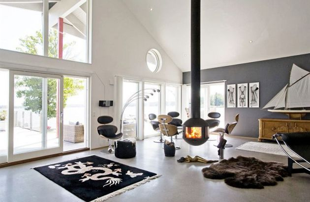 Suspended contemporary fireplace Agorafocus 630, in Sweden