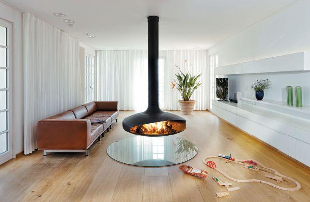 cheminée design suspendue Gyrofocus