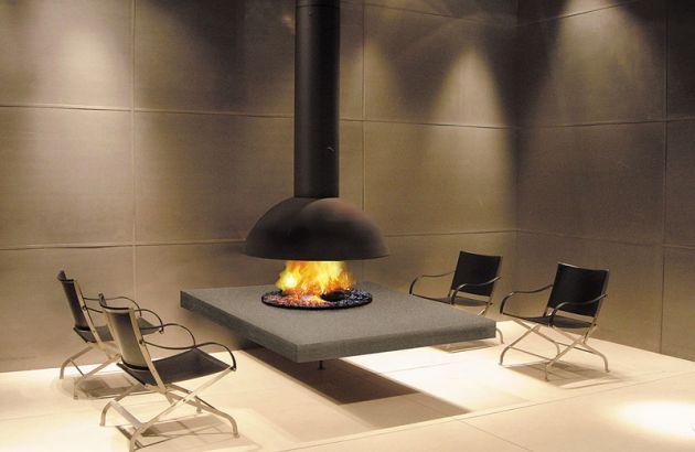 Cheminée Design centrale Mezzofocus Hotte en Italie