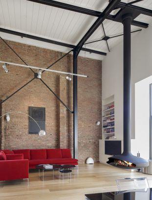 cheminée contemporaine centrale, au foyer suspendu Gyrofocus